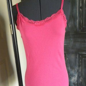 Faded Glory Pink Ribbed Lace Trim Camisole